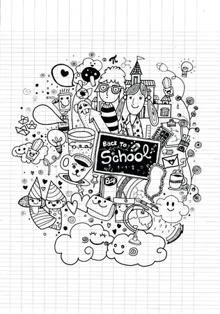 Illustration pour Hipster hand drawn Back to school doodle set,drawing style.Vector illustration. - image libre de droit