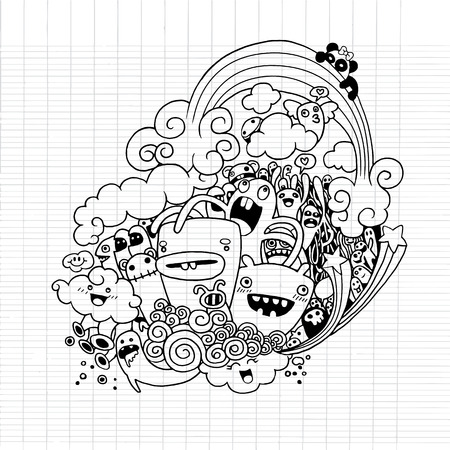 Illustration for Vector illustration of Monsters and alien cute doodle set,drawing style Pen on Paper Notebook .Vector illustration. - Royalty Free Image