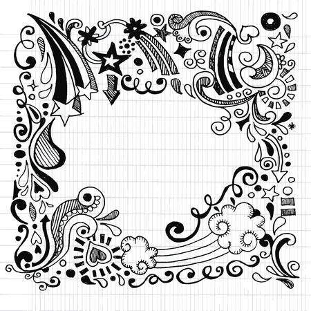 Ilustración de abstract hand drawn Doodle Design Elements black and white background ,Vector illustration. - Imagen libre de derechos