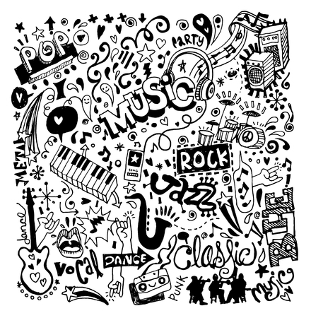 Illustration pour Abstract Music Background ,Collage with musical instruments.Hand drawing Doodle,vector illustration. - image libre de droit