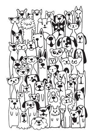 Ilustración de Hand drawn doodle Funny Dogs and Cat Set, Vector illustration. - Imagen libre de derechos