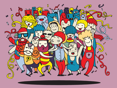 Ilustración de Hand drawing Doodle Vector Illustration of Funny party people ,Flat Design - Imagen libre de derechos