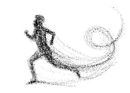 Ilustración de Running man consisting of lots of dots. vector illustration. - Imagen libre de derechos