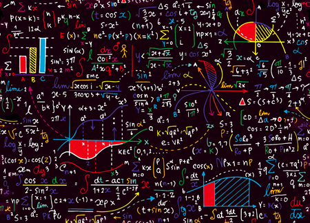 Illustration for Math education vector pattern with handwritten formulas, tasks, plots, calculations and geometrical figures.seamless background doodle vector. - Royalty Free Image