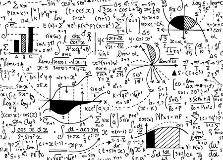 Ilustración de Math education vector pattern with handwritten formulas, tasks, plots, calculations and geometrical figures.seamless background doodle vector. - Imagen libre de derechos