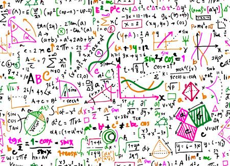Ilustración de Math linear mathematics education circle background with geometrical plots,seamless background doodle vector. - Imagen libre de derechos