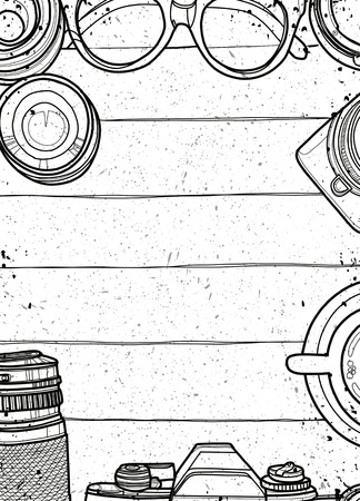 Illustration pour Hand Drawn Vector Illustration ,Top view of retro camera and lens, set of cool photography on wooden background, Close up top view with space for text,Voyage concept - image libre de droit