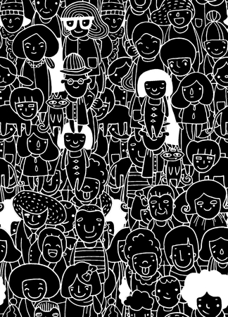 Illustrazione per Hand drawings ,Group of people, sketch for your design. seamless background doodle,Vector illustration - Immagini Royalty Free