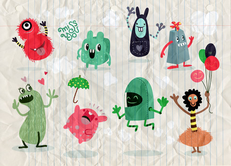 Ilustración de Cute Cartoon Monsters,Vector cute monsters set collection isolated,Cute vector illustration. - Imagen libre de derechos
