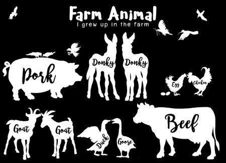 Foto für Vector Farm Animals Silhouettes Isolated ,Farm animals with text. Retro styled farm animals silhouettes collection ,Vector illustration - Lizenzfreies Bild