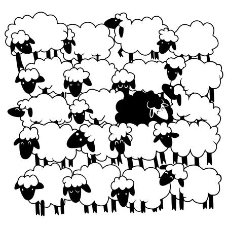 Ilustración de Black sheep amongst white sheep,Single black sheep in white sheep group. dissimilar concept , - Imagen libre de derechos
