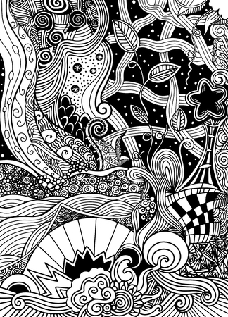 Ilustración de fantasy picture.the beautiful landscape, the trees. Sunlight. midnight. Mountains and plains. Hand drawn, ethnic, doodle, vector, zentangle. - Imagen libre de derechos