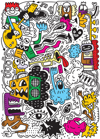 Ilustración de Abstract Music Background ,Collage with musical instruments.Hand drawing Doodle,vector illustration. - Imagen libre de derechos
