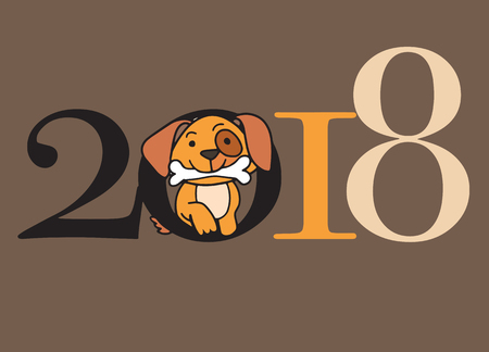 Ilustración de 2018 Happy New Year greeting card. Celebration background with dog. 2018 Chinese New Year of the dog. Vector Illustration. - Imagen libre de derechos