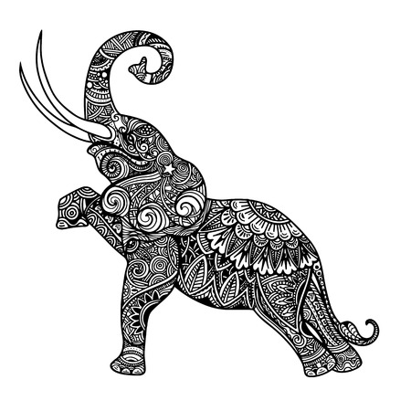 Ilustración de Stylized fantasy patterned elephant. Hand drawn vector illustration with traditional oriental floral elements. - Imagen libre de derechos