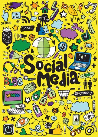 Ilustración de Objects and symbols on the Social Media element. Vector illustration - Imagen libre de derechos