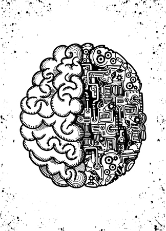 Illustration pour Hand Drawn Vector Illustration of Human machine brain with detailed combined human brain with automatic computing engine equipments.  - image libre de droit