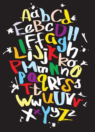 Ilustración de Hand lettering sketch font. Vector alphabet - Imagen libre de derechos