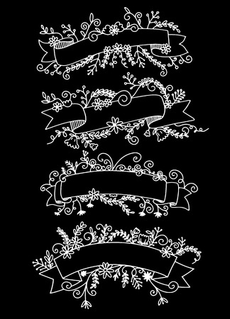 Illustration pour Collection of Hand Drawn Doodle Design Elements. Sketched Rustic Decorative Banners, Dividers, Ribbons with Floral Swirls and Branches. Vintage Outlined Vector Illustration. - image libre de droit