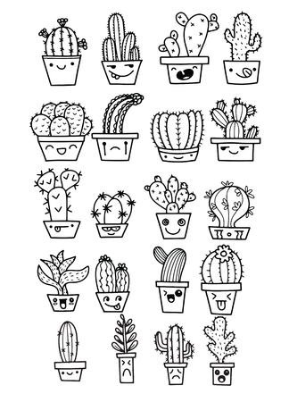 Illustration pour Freehand vector drawing ,Cute hand drawn vector cactuse in the funny face pots,Vector illustration - image libre de droit