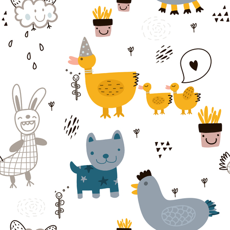 Illustration pour Seamless childish pattern with cute animal and hand drawn shapes. - image libre de droit
