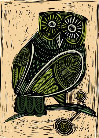 Ilustración de Hand Drawn Vector Illustration of  Owl woodcut  isolated vector illustration - Imagen libre de derechos