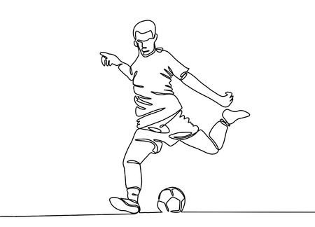 Foto de Continuous line drawing. Illustration shows a football player kicks the ball. Soccer. Vector illustration - Imagen libre de derechos