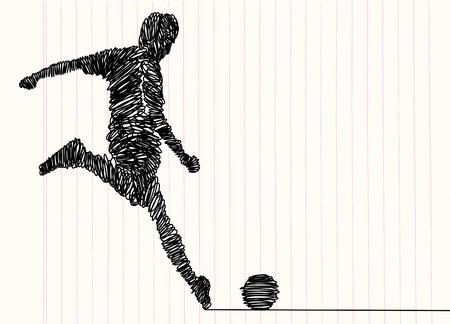 Ilustración de Continuous line drawing. Illustration shows a football player kicks the ball. Soccer. Vector illustration - Imagen libre de derechos