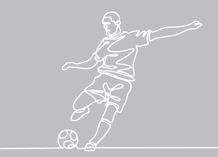 Illustration for Continuous line drawing. Illustration shows a football player kicks the ball. Soccer. Vector illustration - Royalty Free Image