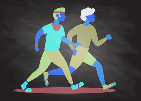 Ilustración de Two Running men. Cartoon jogging buddy. Vector illustration - Imagen libre de derechos