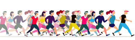 Ilustración de Jogging people. Runners group in motion. Running men and women sports background. People runner race, training to marathon, jogging and running illustration - Imagen libre de derechos