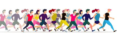 Ilustración de Jogging people. Runners group in motion. Running men and women sports background. People runner race, training to marathon, jogging and running illustration - Imagen libre de derechos