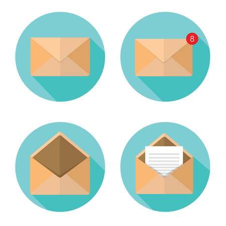 Illustration for Set of closed and open envelopes. - Royalty Free Image
