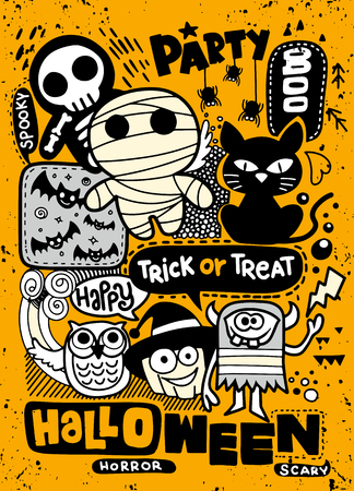 Illustration pour Halloween party invitation card ,Cute pumpkin, ghosts, kids and other holiday symbols in kawaii style. Design elements for children party invitations, scrapbook and etc - image libre de droit