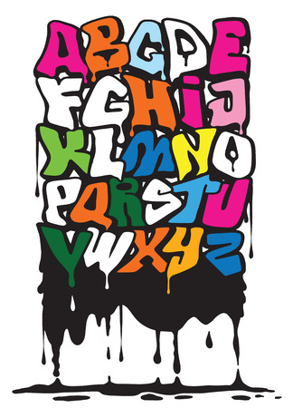 Ilustración de Halloween Splash Alphabet,Set of various blood or paint splatters,Vector Set of different blood splashes, drops and trail. Isolated on background. - Imagen libre de derechos