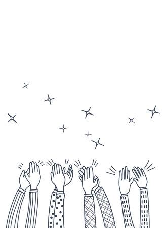Illustration pour Human hands clapping ovation. doodle style ,vector illustration - image libre de droit