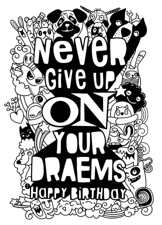 Illustration pour never give up. Hand drawn vintage illustration with hand-lettering. This illustration can be used as a greeting card ,as a print on t-shirts and bags, stationary or as a poster. - image libre de droit