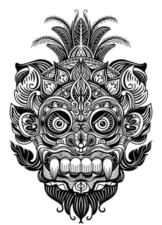 Illustrazione per Hand drawn illustration. Ornamental element. tattoo devil mask , Warrior Tribal Mask Vector illustration - Immagini Royalty Free