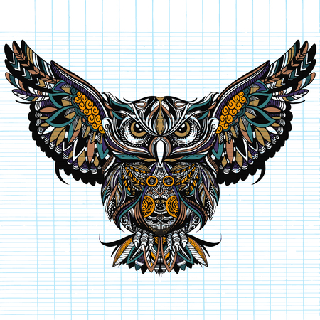 Illustrazione per Owl with open wings and claws. OWL drawn in style. Antistress freehand sketch drawing. Vector illustration. - Immagini Royalty Free