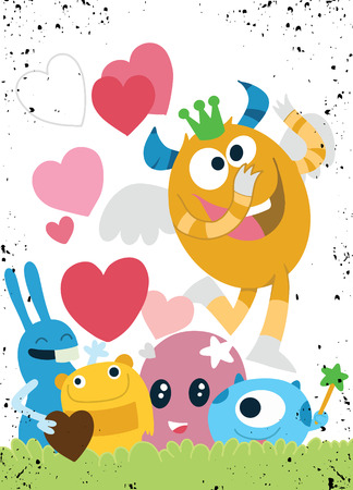 Illustration pour Vector Set of Cute Love Monsters ,Cute monsters group in love with pink heart.Monster. cartoon style. Funny. Bright. Children's. For your design - image libre de droit