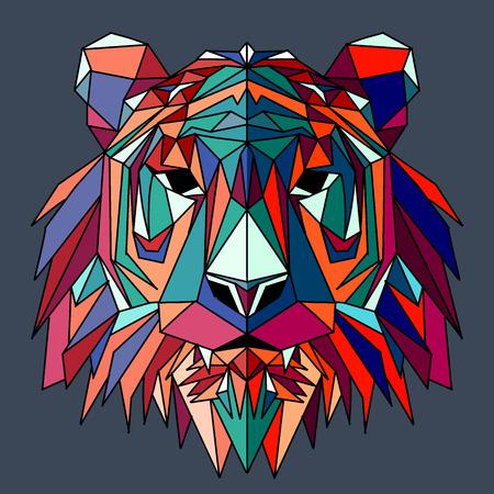 Ilustración de Vector hand drawn sketch illustration of  Tiger head ,Vector. Polygonal geometric wolf head. Abstract linear isolated Tiger - Imagen libre de derechos