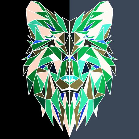 Ilustración de Vector hand drawn sketch illustration of  Wolf head ,Vector. Polygonal geometric wolf head. Abstract linear isolated wolf - Imagen libre de derechos
