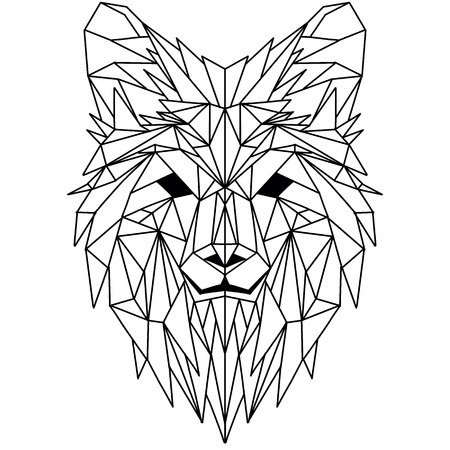 Illustration pour Vector hand drawn sketch illustration of  Wolf head ,Vector. Polygonal geometric wolf head. Abstract linear isolated wolf - image libre de droit