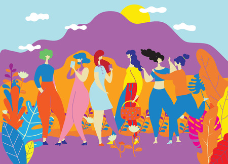Ilustración de Happy Women s Day March 8 ,Happy girls standing together ,Group of female friends,  Cute cards and posters for the spring holiday.  woman and flowers , Colorful vector illustration - Imagen libre de derechos
