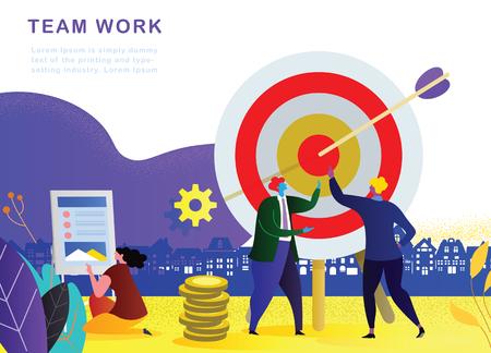 Illustration pour Vector illustration. Business teamwork concept. Icons words typography and symbol of teamwork leadership effort hard work team strategy - image libre de droit