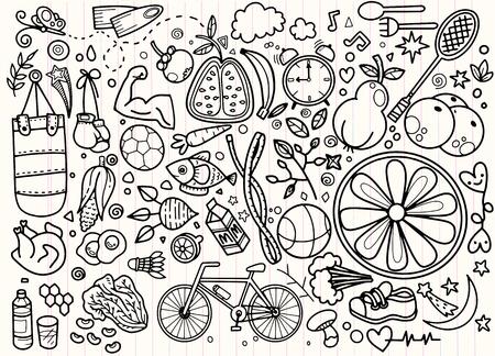 Illustration pour Healthy lifestyle concept with green paper apple form. Vector hand drawn doodle background - image libre de droit