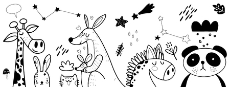 Illustration pour Animal cartoon set illustration ,Vector illustration of Doodle cute animal background ,Hand drawing Doodle - image libre de droit
