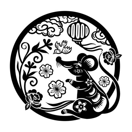 Ilustración de Happy Chinese New Year 2020 year of the rat, Zodiac sign for greetings card, invitation, posters, banners, calendar - Imagen libre de derechos