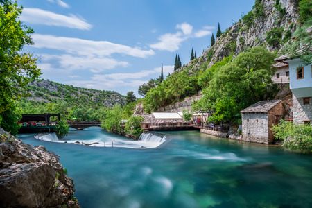Photo for Beautiful village Blagaj and waterfall on Buna spring and waterfall in Bosnia and Herzegovina - Royalty Free Image