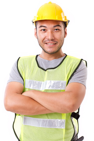 Foto de confident, strong construction worker on white background - Imagen libre de derechos